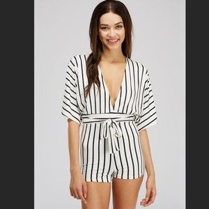 Lucy Striped Romper in White